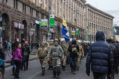 Tropa de la autodefensa del Maidan en Kiev Imágenes de archivo libres de regalías