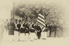 Tropas da união que marcham na formação da coluna, Foto de Stock Royalty Free
