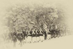 Tropas da união que marcham na formação da coluna, Imagem de Stock Royalty Free