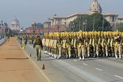 Tropas en el marzo en Delhi Fotografía de archivo libre de regalías