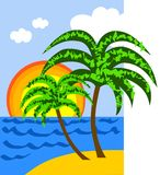 Tropcal Beach. Vector illustration of two palms on a sunny tropical beach Royalty Free Stock Photo