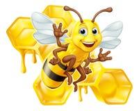 Tropeçar a abelha Honey Comb Bumblebee Hive Cartoon ilustração stock