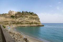 Tropea Beach and Santa Maria dell`Isola Church - Tropea, Calabria, Italy Royalty Free Stock Images