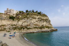Tropea Beach and Santa Maria dell`Isola Church - Tropea, Calabria, Italy Stock Images