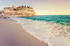 Tropea, Calabria, Italy. Former 4th century monastery on top of the Sanctuary of Santa Maria Island - Tropea, Calabria, Italy. Tropea Beach at Tyrrhenian Sea royalty free stock images