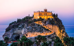 Tropea, Calabria, Italy. Panoramic view of church Santa Maria dell'Isola at sunset stock photography