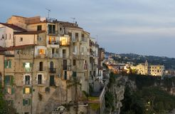 Tropea. Calabria, Italy. Panoramic view of on the houses overlooking the sea, at sunset, southern Italy stock image