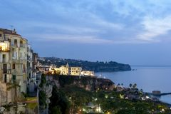 Tropea. Calabria, Italy. Panoramic view of on the houses overlooking the sea, at sunset, southern Italy stock photo