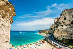 Mediterranean beach - Tropea, Italy. View of the mediterranean beach of Tropea, Carabria in Italy Royalty Free Stock Images