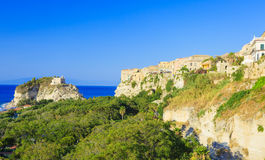 Tropea with its cathedral Stock Photos