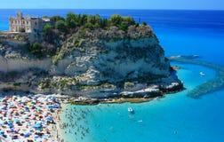 Tropea peninsola with beach. Scenic landscape with beach and Tropea peninsola Royalty Free Stock Image