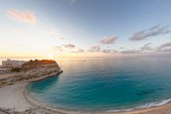 Tropea shore and sanctuary at sunset, Italy Stock Images