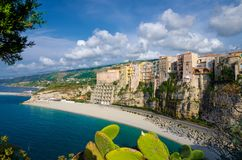 Tropea town colorful stone buildings on top of cliff, Calabria, royalty free stock photos