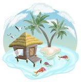Tropeninsel im Ozean mit Palmen und Bungalow lizenzfreie abbildung