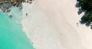 Tropeninsel mit dem See- und Palmensandstrand genommen vom Brummen Seychellen-Luft-Video 4K stock video