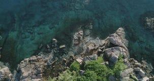 Tropeninsel mit Meer und Palme genommen vom Brummen Seychellen-Luftfoto St- Pierreinsel stock video