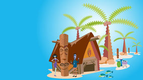 Tropeninsel mit Palmen, Vektor-Illustration stockbild