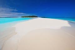 Tropeninsel mit sandigem Strand mit Palmen und tourquise Trinkwasser in Malediven Lizenzfreie Stockfotos