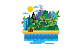 Tropeninsel, schöne Landschaft mit Ozean-, Strand-, Palme-, Vulkan- und Wasserfallvektor Illustration stock abbildung