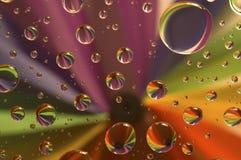 Tropfen auf einem Regenbogen Stockbilder