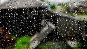 Tropfen des Regens auf einem Fenster auf einem Naturhintergrund stock footage