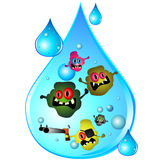 Tropfen des schmutzigen Wassers Stockfotos