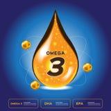 Tropfen Omegas 3 Logoikone Omegas 3 und Stockbilder