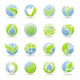Tropfen und Blätter. Vektorzeichen-Schablonenset. Lizenzfreie Stockbilder