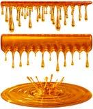 Tropfen und goldener Honig oder Karamell des Spritzens lizenzfreie abbildung