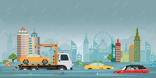Tropfen und Stadt des starken Regens überschwemmen auf Stadtansicht vektor abbildung