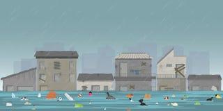 Tropfen und Stadt des starken Regens überschwemmen in der Elendsviertelstadt mit Abfall floati stock abbildung