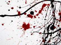 Tropfende schwarze rote Farbe lokalisiert auf weißem Hintergrund ähnlich Blut Flüssiges Heizöl spritzt, Tropfen und Spur stock abbildung