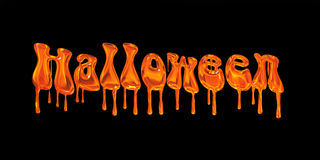 Tropfendes orange Wort Halloween Lizenzfreies Stockfoto