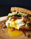 Tropfendes Sandwich des poschierten Eies Stockbilder