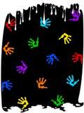 Tropfenfänger des Lackes und der handprints Stockbild