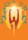 Trophäe des Siegers auf orange Hintergrund Lizenzfreies Stockfoto