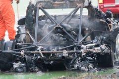 TROPHÄE EUROCUP MEGANE. Brennendes Auto Stockbilder