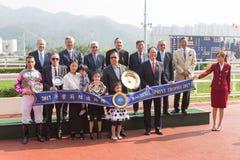 Trophée étonnant de sprint de Bauhinia de victoires d'enfants en Hong Kong Images libres de droits