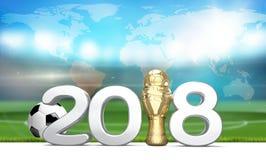 trophée 2018 Boule du football du football 3d rendent éléments Images stock