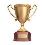 Trophée de gagnant de tasse d'or graphisme 3D d'isolement Photo stock