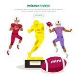 Trophée de Heisman et joueurs de football américain illustration de vecteur