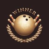 Trophée de vecteur de championnat de bowling, logo Illustration de Vecteur