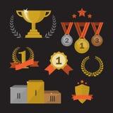 Trophée et récompenses réglés Photographie stock libre de droits