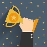 Trophée, homme d'affaires montrant le succès Illustration de Vecteur