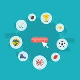 Trophée plat d'icônes, gant, Puck And Other Vector Elements L'ensemble de symboles plats d'icônes d'activité inclut également le  Image libre de droits