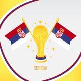Trophée/tasse et drapeau du football d'or de la Serbie illustration libre de droits