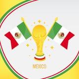 Trophée/tasse et drapeau du football d'or du Mexique illustration stock