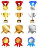 Trophées et récompenses réglés illustration libre de droits