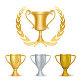 Trophies. Gold silver and bronze Stock Images