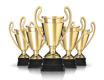 Trophies. Golden cup trophies on white background Royalty Free Stock Image